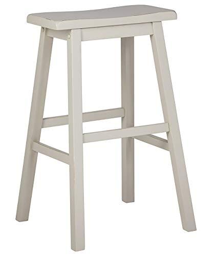 Stone & Beam Cottage Wood Saddle Kitchen Bar Counter Stool, 24 Inch Height, Creme White ()
