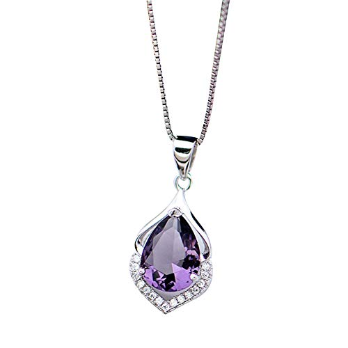 Buyanputra Women Jewelry Necklace,Droplet Faux Amethyst Necklace Pendant Charm Jewelry Necklace Gift Purple