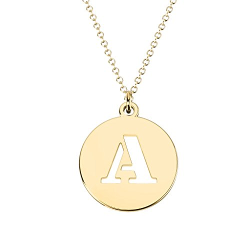 - 14K Yellow Gold 'A' Initial Disc Cutout Pendant by JEWLR