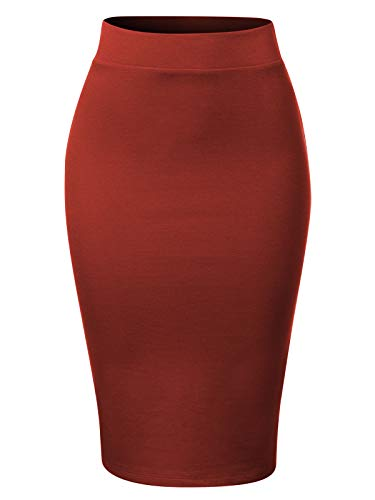 MixMatchy Women's Waist Band Midi Stretchy Ponte Basic Knee Pencil Skirt Dk Rust 3XL (Lace Stretch Jeans)
