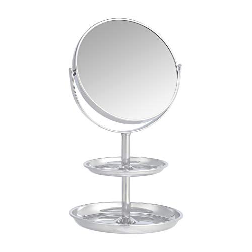 Amazon Basics Vanity Mirror with Dual Trays – 1X/5X Magnification, Chrome