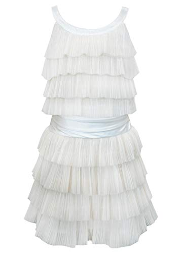 Hannah Banana, Big Girls' Special Occasion Sleeveless Ruffle Dress with Satin Belt Embellishments, Size 7-16 (Ivory, ()