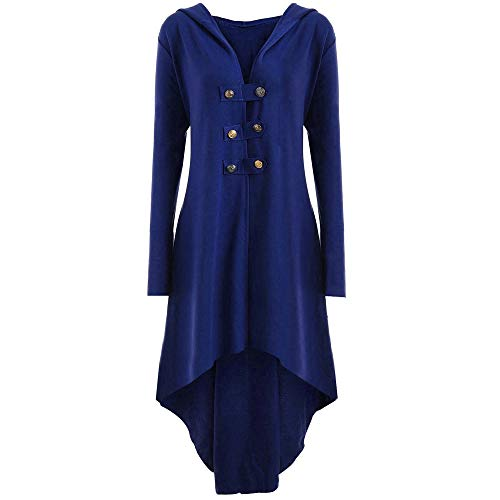 Kacowpper Christmas Punk Women Casual Button Steampunk Up Hooded Trench Coat Jacket Blazer Tops Outwear -