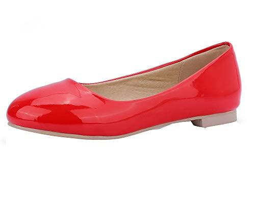 Tirare Pelle Puro Ballet GMMDB006899 Donna Basso di Maiale Tacco AgooLar Rosso Flats Eq0UCfwEx