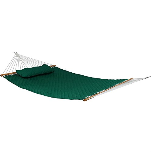 Sunnydaze 2 Person Quilted Designs Fabric Hammock Spreader Bars Detachable Pillow, Heavy Duty 440 Pound Capacity, Green
