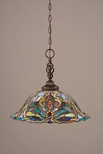 (Toltec Lighting 82-DG-990 Eleganté One-Light Pendant Dark Granite Finish with Kaleidoscope Tiffany Glass,)