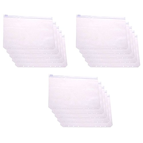 (D-Worthy 15pcs Translucent PVC Plastic A5 Size Zippered Binder Pockets Pouched for 6-Ring Notebook Binder 8-1/8 x 5-1/4 inches)