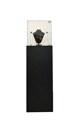 (SC-PED-BK-L) Pedestal Exhibition Stand Display Case, For Retail, Jewelry Display, Museum, Collectible, Tempered Glass, Black Finished With LED Light. Comes with lock. Size: Large ()