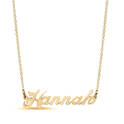Ouslier Personalized Name Necklace Cursive Font Made with Any Nameplate Pendant 16