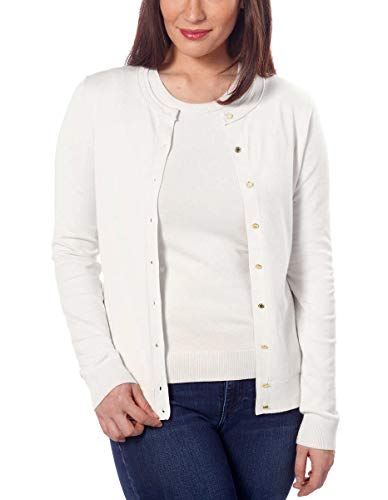 Calvin Klein Ladies' Cardigan & Shell Twin Set Sweater (Winter White, X-Large)