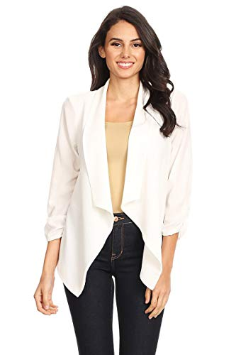 Casual Style Open Draped Ruched Sleeve Loose Cardigan/Made in USA Ivory XL by HEO CLOTHING