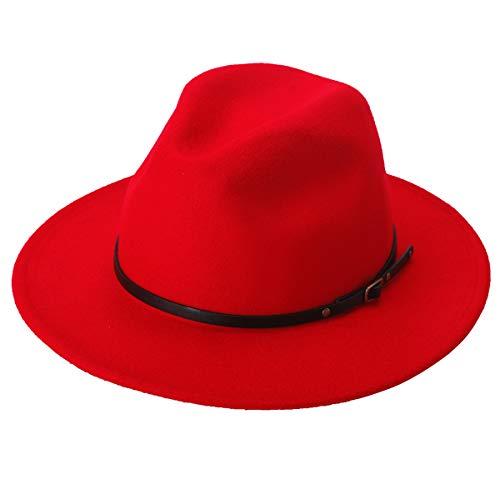 Lanzom Women Lady Retro Wide Brim Floppy Panama Hat Belt Buckle Wool Fedora Hat (Red, One Size)