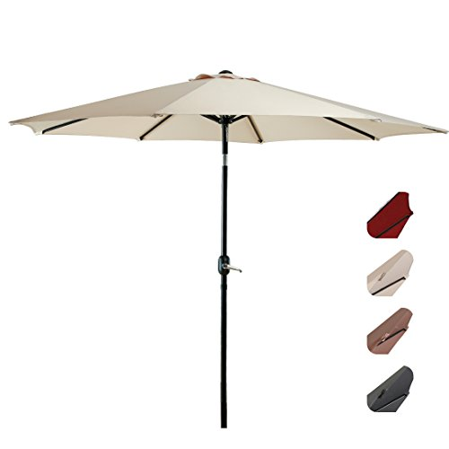 EASELAND Patio Umbrella 9-Feet Outdoor Table Market Umbrella Push Button Tilt Crank Garden Parasol Crank Winder, 8 Ribs, Beige Review