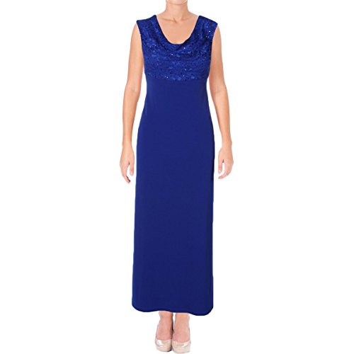 Connected Apparel Womens Petites Lace Sequined Evening Dress Blue 12P (Cowl Neck Evening Gown)