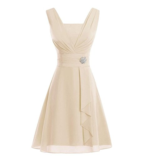 Z&L Women's Chiffon Elegant Evening Party Dress Short Mother of the Bride Dresses Champagne US 12