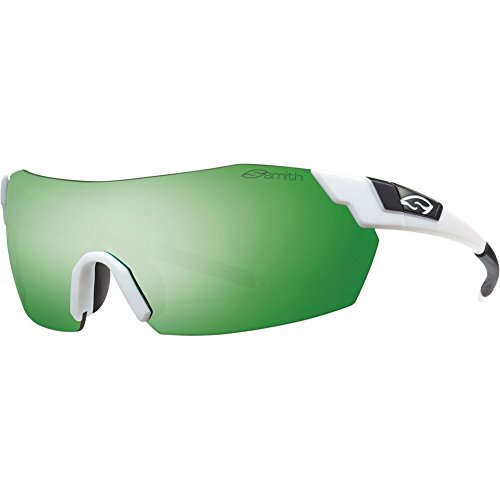 Smith Optics PivLock V2 Max Sunglasses, Matte White Frame/, Green Sol-X, Ignitor,Clear - Smith Pivlock V2 Sunglasses Max