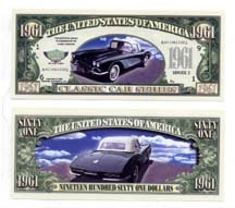 1961 CORVETTE CONVERTIBLE NOVELTY MONEY BILL (5 bills)
