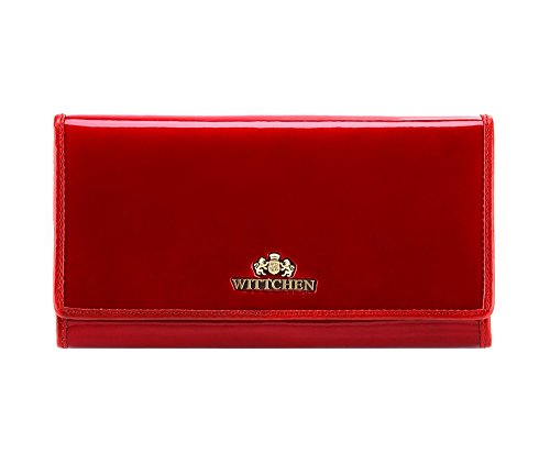 1 Dimension 075 Wittchen 3 Verona Wallet Patent 25 10x19 Collection Leather Red HwzIqSw