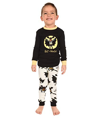 Bat Moose Kids Long Sleeve Pajama Sets by LazyOne | Fun Soft Animal Pajamas (4T) -