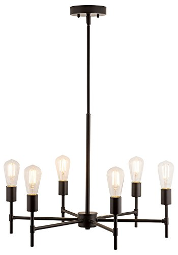 Bella LED Industrial Hanging Chandelier Light Fixture Bronze Linea di Liara LL-P250-BRO by Linea di Liara