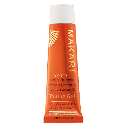 Makari Extreme Carrot & Argan Oil Facial Toning FACE Gel 1.0oz -Lightening, Brightening & Tightening Gel with Organiclarine -Whitening & Anti-Aging Treatment for Dark Spots, Acne Scars & Wrinkles