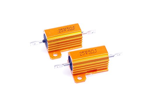- LM YN 25 Watt 5 Ohm 5% Wirewound Resistor Electronic Aluminium Shell Resistor Gold for Inverter LED lights Frequency Divider Servo Industry Industrial Control 2-Pcs