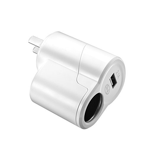 AOKII AC to DC Power Socket Adapter Converter,110~220V Mains to 12V Car Cigarette Lighter Socket Power Adapter Charger,Household Cigarette Lighter,With USB 2.0 interface