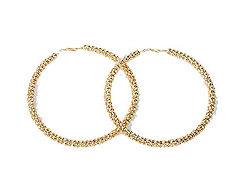 crazy jewelry Gold tone Mesh Pattern Metal Large Round 4 Inch Hoop Earrings