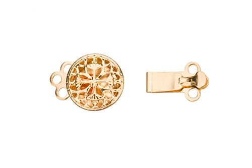 Round 3-Stanrd Box Clasp Filigree Cross Design 14K Gold Finished With Tab And Safety 15X9mm sold per 8pcs