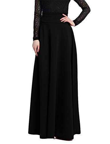 Jessica CC Women' s High-waisted Pleated A-line Long Skirt Front Slit Belted Maxi Skirt S-XXL (XX-Large, New-Black)