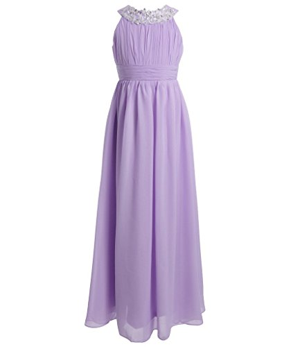 [FAIRY COUPLE Girl's Round Neckline Ruched Bust Flower Girl Party Dress K0151 12 Lilac] (Fairy Dress For Kids)