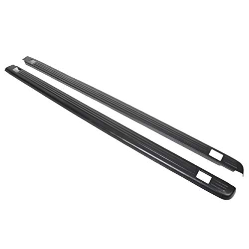 ECOTRIC Truck Bed Rail Caps Black Ribbed Finish for 1999-2007 Silverado & Sierra 1500 2500 (Classic only) with Stake Holes. 6.5ft Bed (Set of 2). (Bed Rail Covers Truck)