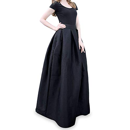 (Rostiumise Women's High Waist Pleated A-line Flared Skirts Maxi Long Skirts(Black,XL))