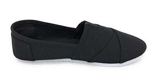 Blue Berry Easy21 Dames Canvas Ronde Neus Op Platte Fashion Sneaker Zwart