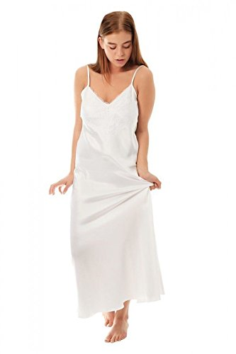 Undercover Womens Satin & Deep Lace Long Chemise Nightdress N50 White XOS