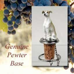 Greyhound Tan/White Wine Bottle Stopper - DTB54D