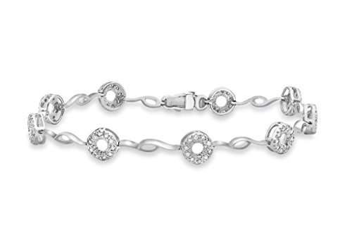 """0,5carat or blanc 9carats Diamant Cercle Bar Bracelet 18cm/7"""""""