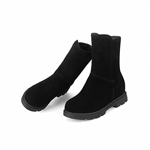 Charm Foot Womens Comfort Zipper Low Heel Flat Short Boots Black bmBWc9