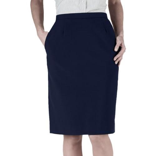 New Ed Garments Women's Waistband Straight Skirt, DARK NAVY, 12