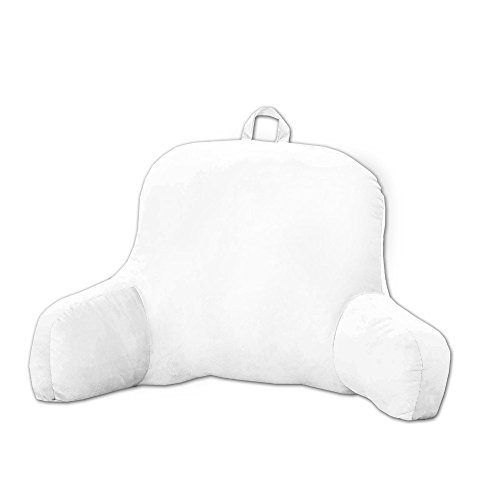 Micro Plush Back Support w/Arms Bed Rest Pillow Lounger Cushion (White) ()