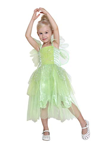 Girls Princess Tinkerbell Costume Long Dress Fairy Wings Birthday Party Halloween (Green 4-6 Year)]()