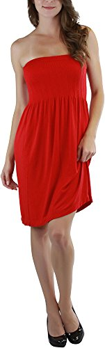 ToBeInStyle Women's Summer Tube Top Mini Dress - One Size - Red
