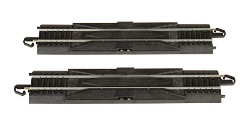 Bachmann Trains - Snap-Fit E-Z TRACK 9 STRAIGHT RERAILER (2/card) - STEEL ALLOY Rail With Black Roadbed - HO Scale
