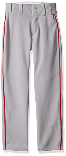Alleson Ahtletic Boys Youth Baseball Pants with Braid, Grey/Scarlet, Medium