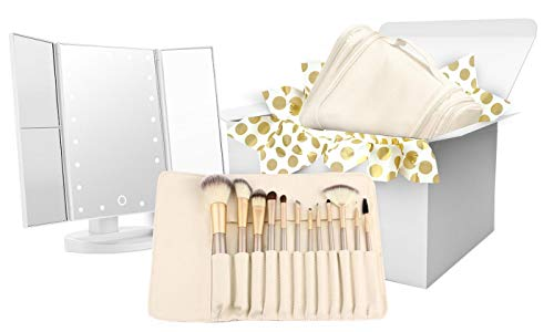 Makeup Brush Set, Hanging Toiletry Bag Travel Case and Trifold Cosmetic Vanity Mirror With 21 LED Lights - #1 Beauty Gift Set for Women Girlfriend Mom Gift Basket - Holiday Special