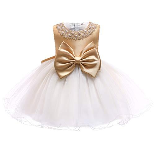 TUOKE Infant Baby Girl Formal Bridesmaid Birthday Ball Gown Sleeveless Ruffles Dress Gold 24M