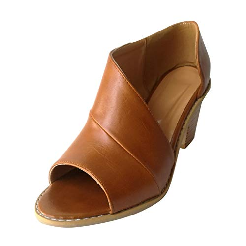Women's Summer Sandal Open Toe Asymmetrical Chunky Heel Cutout Casual D'Orsay Dress Shoes Khaki