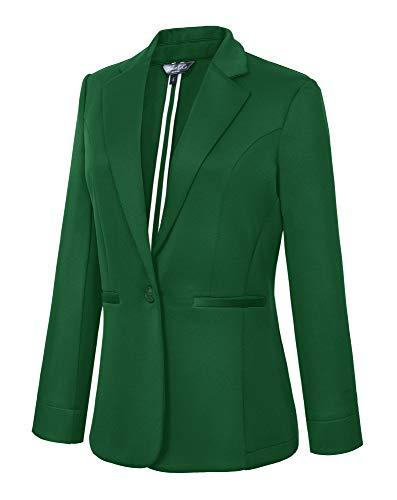 Women's Casual One Button Office Blazer Jacket (L, Green)]()