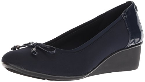 Anne Klein AK Sport Women's Darlene Wedge Pump Ballet Flat, Navy Multi Fabric, 7.5 M US