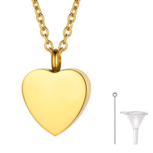 (Richsteel Gold Heart Cremation Necklace with Rolo Chain Locket Urn Pendant for Human Ashes Adult Memorial Gift)